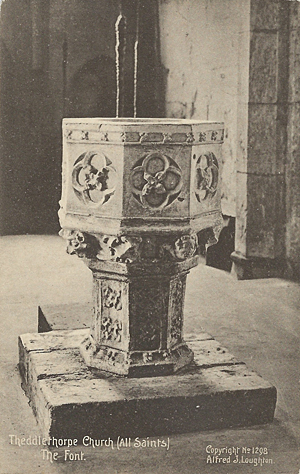 The font, Theddlethorpe All Saints Church, Mablethorpe, Lincolnshire