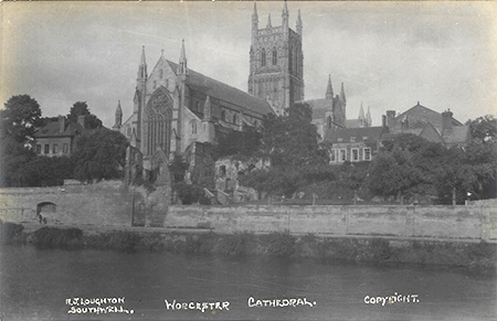 A view of Worcester Cathedral from across the river Severn